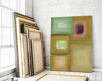 Large abstract canvas abstract Art abstract painting canvas print canvas art canvas painting Modern art Contemporary art, green, grey