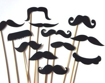 Photo Booth Props - Set of 12 BLACK Mustaches on a stick - Photobooth Props Party Props