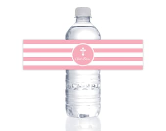 INSTANT DOWNLOAD First Communion Water Bottle Labels (Baptism Water Bottle Wraps, Printable Water Bottle Labels, God Bless, Religious Girls)