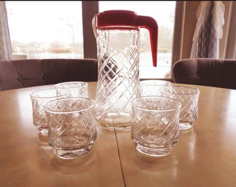 Vintage Retro Orange Tang Clear Glass Pitcher with 6 Glasses