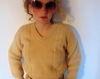 Vintage 70s pullover hipster cream tan iron wool sweater cropped