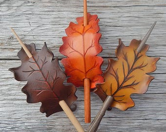 Autumn Oak Leather Hair Stick Barrette in Fall Hues of Brown, Orange and Gold - Medium Size Hair Slide - Rounded White Oak Shape