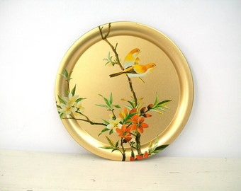 Vintage Decorative Gold English Tin Serving Tray Birds and Branches