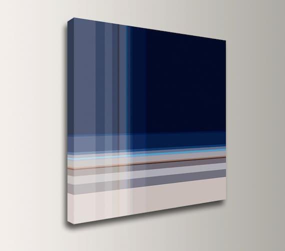 "Navy Blue Wall Art Geometric Wall Art Minimalist Art Canvas print Abstract Art Print Modern Wall Art Square Canvas Print ""Inlay"""