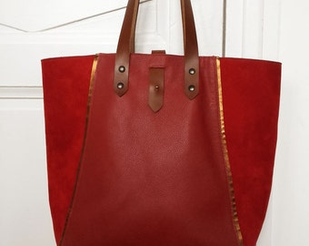 Leather tote bag, carry-all leather bag, handleather bag, shopping bag, vegetable leather handles and strap, grained and nubuck leather bag