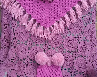 Crochet set of poncho and hat for a girl