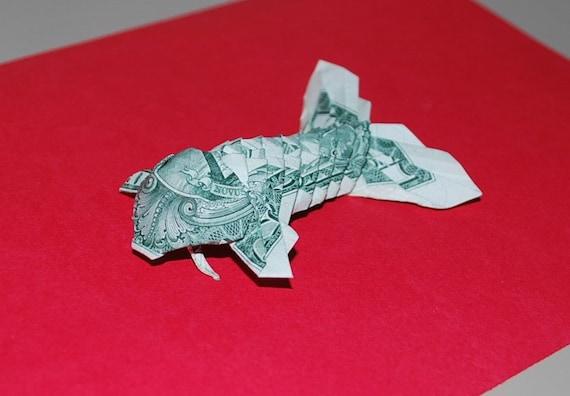 Money origami origami fish koi fish us dollar bill for Origami koi fish