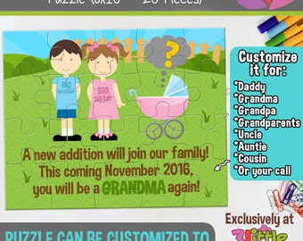"""Big Brother Big Sister Personalized Pregnancy Announcement Puzzle - Personalized 8"""" x 10"""" Puzzle - Grandmother Pregnancy Announcement Puzzle"""