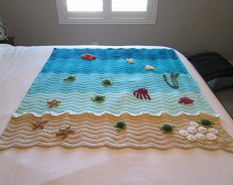 Ocean Beach Handmade Crocheted Baby Blanket