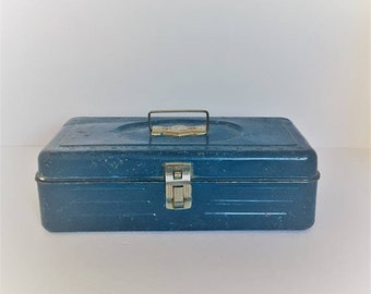 ON SALE vintage tool box metal blue tool box rustic teal fishing tackle box rustic display box man cave decor rustic gift for him vintage st