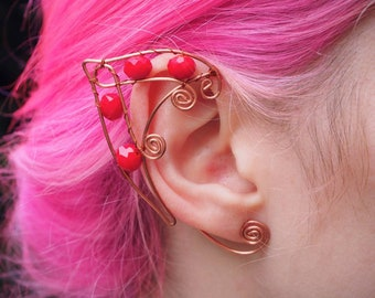 Lovely Red Coral Elf Ear Cuffs Copper Wire Elven Ears Wrap Fairy Pixie Cosplay Fantasy Cuffs Earcuffs Earcuff Boho Jewelry Earrings