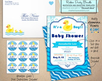 """Printable Rubber Ducky Baby Shower Invitations! Easy to edit Microsoft Word template. Set includes envelopes & 1"""" seals. DIY, Print at home!"""