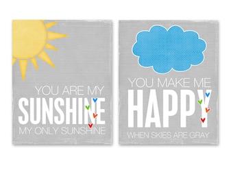 Childrens Print, Typography Poster, Digital Print, Kids Wall Art You are My Sunshine Digital Poster Duo Rainbow Gray