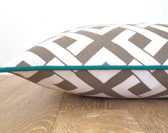 Tan outdoor pillow cover front porch decor,geometric cushion case, beige and teal pillow case valentine gift for her