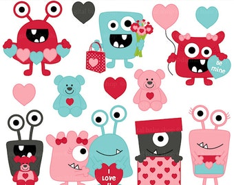valentine's day valentines clipart clip art - Valentine Monsters Clipart - BUY 2 GET 2 FREE