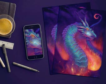 Fantasy Dragon art print, Fierce Dragon art print, Fiery Dragon art print, Blue Dragon art, Fantasy Dragon Digital art