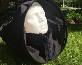 Black with navy blue zipper patchwork hooded neck warmer unisex rennfaire cosplay wasteland apocalyptic