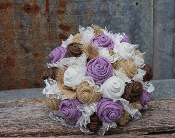 Lavender Burlap Bouquet, Burlap and Lace Wedding, Keepsake, Bridal Bouquet, rustic, country wedding, lavender fabric flowers, bride