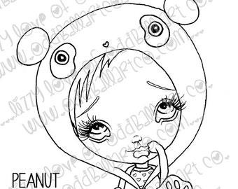 Digi Stamp Digital Instant Download Cute Big Eye Panda Girl ~ Peanut Image No. 72 & 72B by Lizzy Love