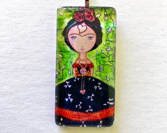 Frida - Thinking of You  -   Original Glass Tile Pendant  by FLOR LARIOS ART