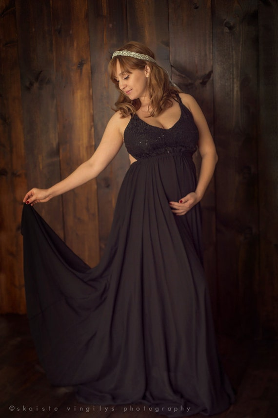 Maternity Dress For Baby Shower Black Flowy Photography