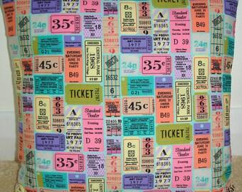 "18x18 Pillow Cover Theatre Party Movie Tickets Cover 18"" Pink Purple Green Orange Theater Cinema Ticket Cushion Slip Sham Case"