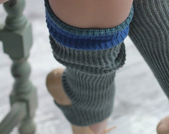 BOHO Grey/blue blush Legwarmers Yoga/Pilates/Ballet/Dance  THIS COLOUR!Handcranked - One size fits all - grey blue lambs wool - army chic