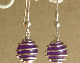 Earrings, glass bead, purple, round, spiral silver, simple and original jewelry