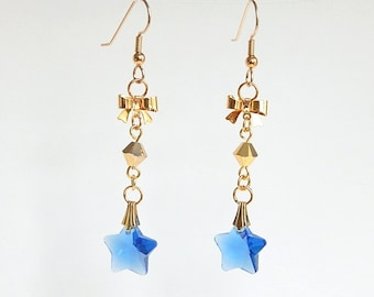 Blue Star Dangle Earrings, Gold Filled Earrings, Sapphire Blue Star and Bow Earrings, Blue and Gold, Star Jewelry Gift for Her