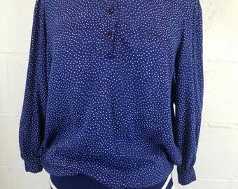 Vintage 70s 80s Starlo Fashions Navy Blue & White Polka Dot Pullover Blouse Lace Collar Boho Peter Pan Collar