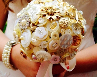 Wedding button bouquet - Retro/vintage ivory, white and gold bridal wedding flowers, UK seller
