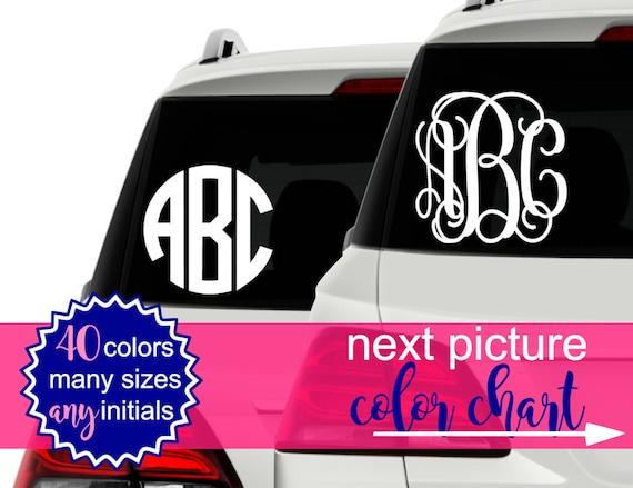 Car Stickers Monogram Vinyl Decal Monogram Car Decal - Circle monogram car decal