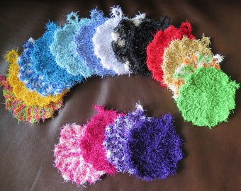 SET OF 3 - Scrubby Yarn Scalloped Edge Scrubby For Dishes/Washcloths