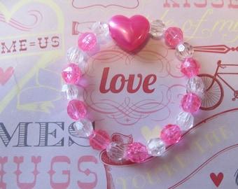 Valentine Heart Beaded Bracelet-Valentine Bracelet-Valentine Gifts-Gifts for Her-Gifts for Girls-Girls Bracelets-Bracelets for Girls