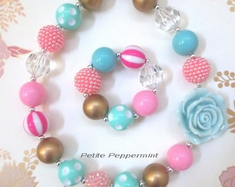 Pink Aqua Gold Girls Chunky Necklace, Girls Bubblegum Chunky Necklace, Baby Chunky necklace,Girls Bubble Gum Bead Necklace,Children Necklace