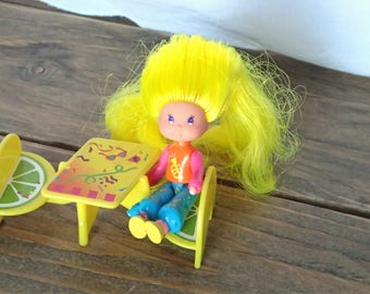 Wee Wild World Dolls, Mattel Doll, Lucy Watussi Doll, Piece O'Cake Set, VTG Plastic Dolls, Wee Wild Things Doll, Mattel Toys, 1980's Toys