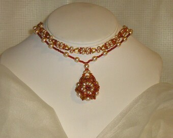 Swarovski Crystal and Pearl Beaded Necklace