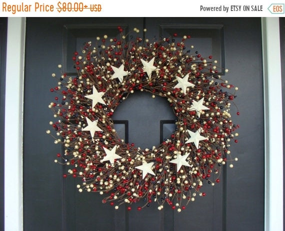 SUMMER WREATH SALE Red White and Blue Stars and Berry Wreath, Fourth of July Decor, Summer Wreath, Memorial Day Decor, July 4th Decoration