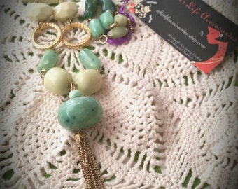 After Life Accessories: Shabby Chic Green & Gold Bead Necklace