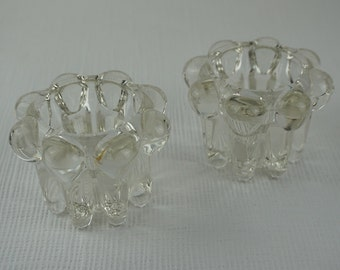 2 1960s Small Round Glass Bobbly Candle Holders with Round Base