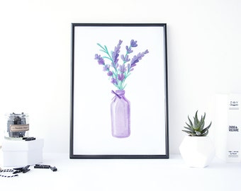 Watercolor Lavender, Lavender Art, Watercolor Flowers Digital, Lavender Painting, Print Watercolor, Botanical Download, Floral Digital Art