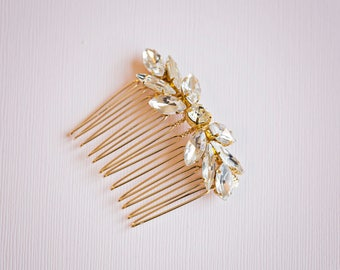 Bridal hair comb, Bridal Headpiece, Gold bridal hair comb, Crystal leaf hair comb, Gold hair comb, Gold Hair vine, Gold headpiece