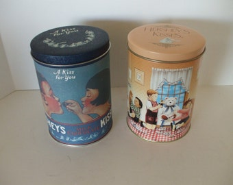 Hershey Tins (2) 1980 and 1990,  Home Decor,  Collectors Tins,  Storage Tins,