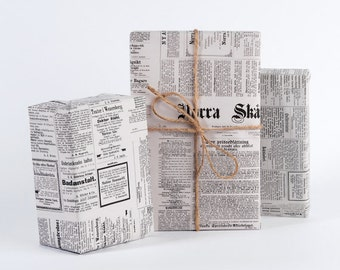 Vintage Swedish Newspaper / Wrapping Paper