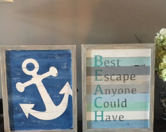 Wood beach  frame, beach sign, boat anchor, beach decor, wall decor, rustic