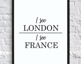 I See London, I See France U2013 Funny Bathroom Wall Decor Print (digital  Download