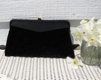 Vintage Black Velvet Clutch Style Handbag