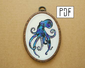 PDF pattern - Four Eyed Galaxy Octopus Hand Embroidery Pattern (PDF modern embroidery pattern)