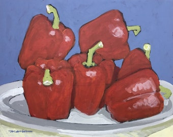 "Red and Blue Kitchen Painting . ""Peppers in Plastic"" 16x20 in."