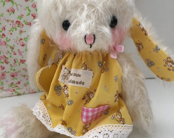 artist bear bunny Rabbit in day dress by bear artist Jenny Lee and jennylovesbenny mohair bears